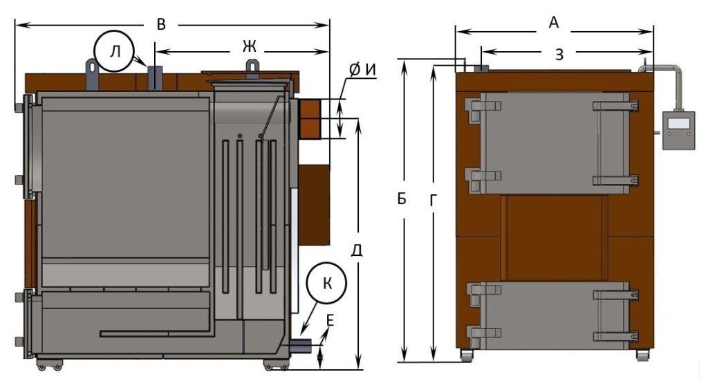 Размеры котлов, и присоединительных патрубков БТС «Премиум» 170 – 500 кВт