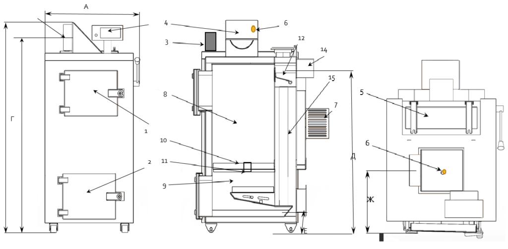 Общий вид теплогенератора БТС-В и его узлы 25-90 кВт