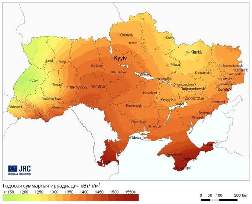 Глобальная иррадиация и потенциал солнечной энергии в Украине