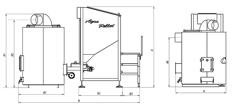 Устройство и размеры теплогенератора БТС В Agro